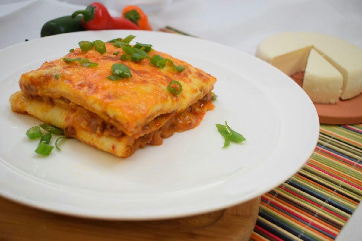 Cheesy Chorizo Enchilada Pie